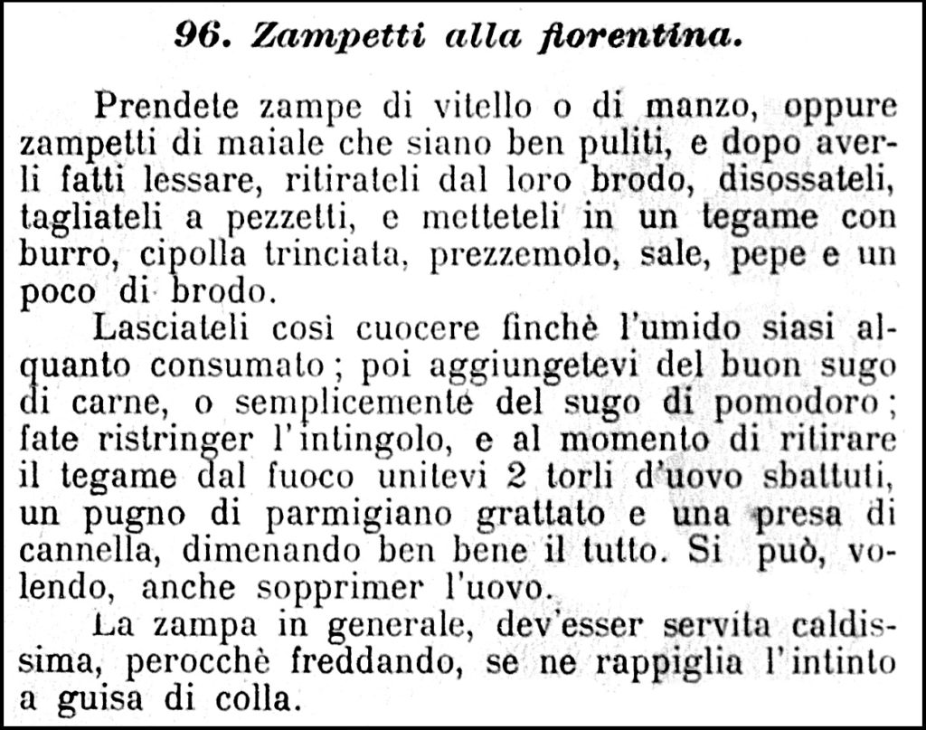 Ettore Grati, la ricetta degli Zampetti alla Fiorentina