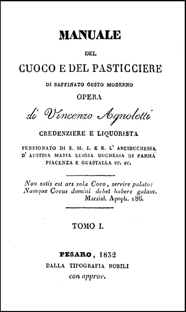Agnoletti, Manuale del Cuoco, 1832