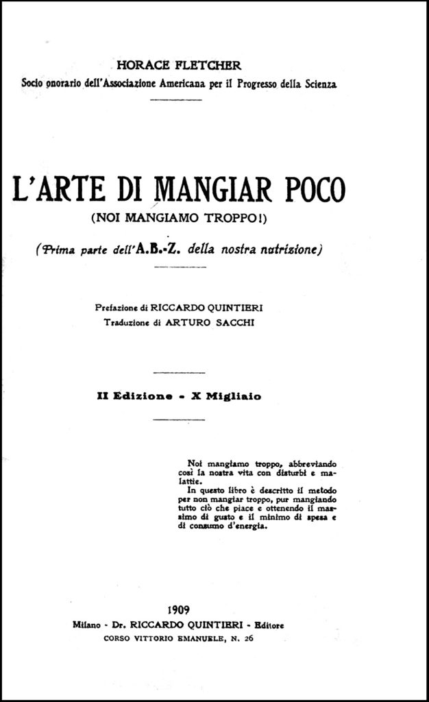 Fletcher, L'Arte di Mangiar Poco, 1909