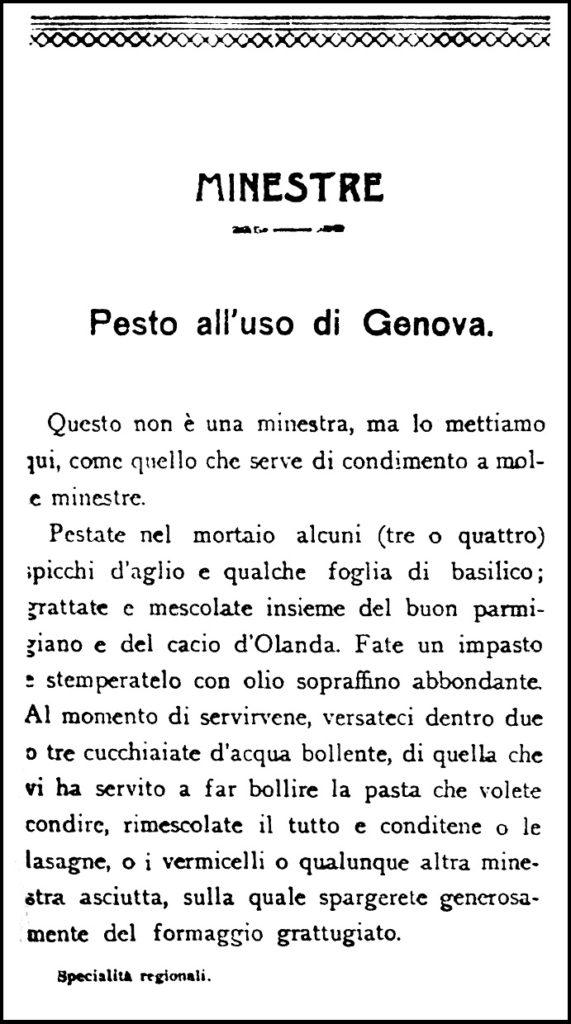 Agnetti, 1913. Il Pesto all'uso di Genova