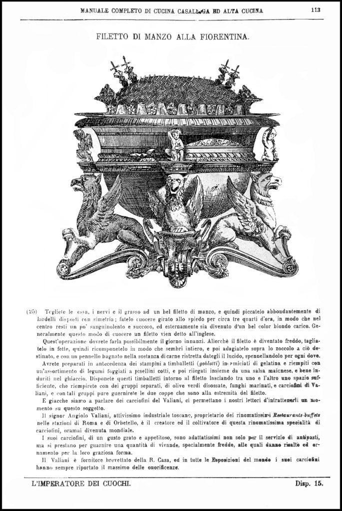 Bossi, 1894. Il Filetto di Manzo alla Fiorentina