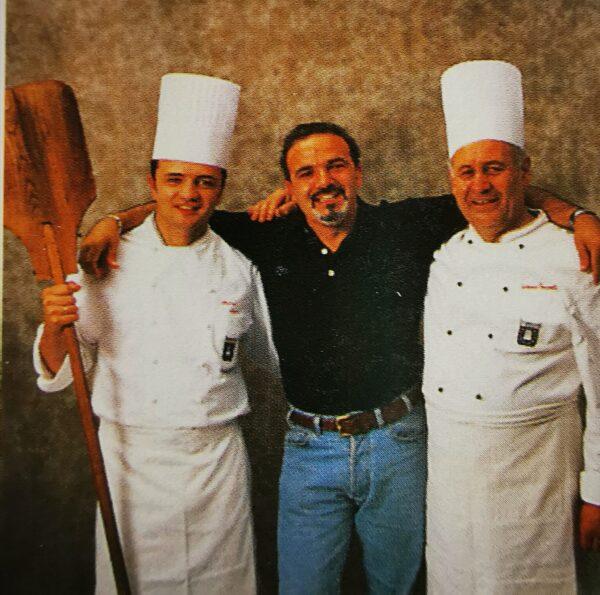 Rossano Boscolo con Stefano Laghi e Teresio Busnelli durante la lavorazione del libro Torte da Forno e Biscotti