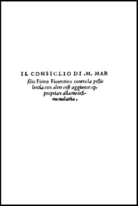Marsilio Ficino, Consigli contro la Peste, 1522. Frontespizio.