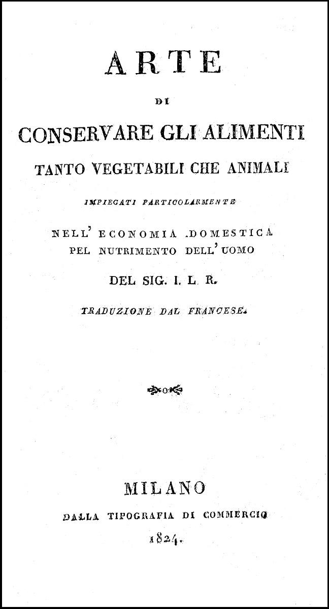 Arte di conservare gli alimenti, 1824. Frontespizio.