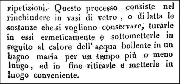 Arte di conservare gli alimenti, 1824. La prima attestazione dell'uso della latta.