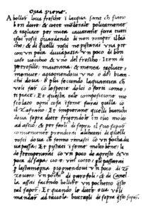 Ms. LC 153, la ricetta delle 'Ova Piene'