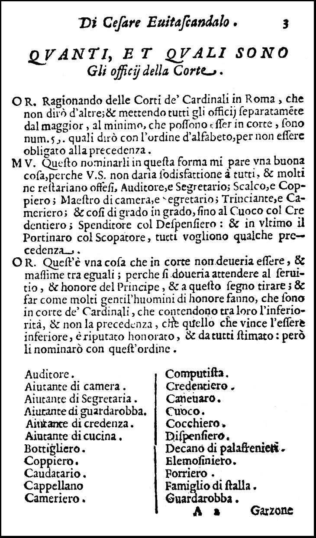 Evitascandalo, 1620: La lista degli Offici della Corte 1/2