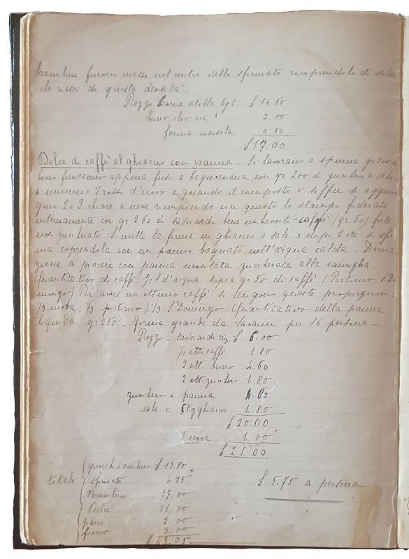 """Il manoscritto del """"Dolce di caffè al ghiaccio con panna"""" o Tiramisù"""